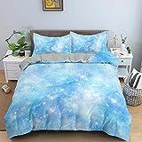 Bettwäsche 200x220 Blaues Sternenkind Mikrofaser Bettbezug mit Reißverschluss und 2...