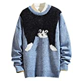 Zarupeng Herren Tier Katze Strickpullover Feinstrick Pullover mit Rundhalsausschnitt Warme Sweater Winter Casual Langarm Jumper Strickjacke Tops
