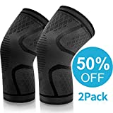 EUTUOPU Knee Support for Men, Knee Brace 1 Pair Unisex Knee Supports for Running Walking Cycling Powerlifting Basketball and Knee Safety Pain Relief - Sports Injury Rehabilitation & Protection (Black)