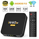 Android TV Box 4G+64G unterstützt 8K, NinkBox Android 9.0 TV Box N8 Plus Amlogic S905X3 Quad-Core 64bit Cortex-A55, Smart TV Box Set-top-Box für Bluetooth 4.0/WLAN 2.4G/5.0G/USB 3.0/Ethernet 100M