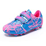 Kinder Fussballschuhe Mädchen Halle Fußballschuhe Low Top Outdoor Athletics Trainingsschuhe Indoor Sportschuhe Football Shoes FG/AG für Unisex-Kinder Pink 30