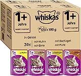 Whiskas 1 + Katzenfutter – Geflügel-Auswahl in Gelee – Hochwertiges Feuchtfutter für...