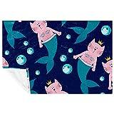 EZIOLY Kuschelige Decke in Form einer Meerjungfrau, mit pinker Katze, super flauschig,...