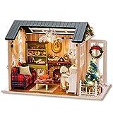 Newooh Holz Mini Holz Puppenhaus mit Möbel DIY Puppenhaus Puppenhaus Puppen für Kinder...