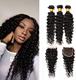Deep Weave Echthaar Brasilianisches Haar Extensions 3 Bundles With Lace Frontal Closure Free Part Swiss Lace Echthaar Extensions Zum Einnähen(18 20 22+16)