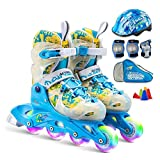 Tiua Inline Skates Inline-Skates Mit Full Light Up Räder Verstellbare Inline Skates for Kinder Und Erwachsene Roller Skates Mit Featuring Alle Illuminating Wheels Blau (Color : B, Size : EU(30-33))