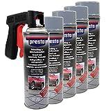 Steinschlag & Unterbodenschutz Spray Hell Grau Presto 5 X 500ml mit Pistolengriff