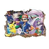 Khosd Pokémon Wandsticker Abnehmbare Karikatur wanddeko Schlafzimmer kinderzimmer Jungen...