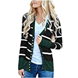 Refill Damen Herbst Strickjacke Casual Gestreift Cardigan Bunt Outwear Lose Strickpullover Langarm Coat mit Knöpfen Sweater Strick Warme Winterjacke