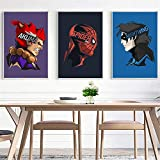 XWArtpic Geometrische Klassische Hollywood Superheld Film Charakter Cartoon Avatar Poster Spinne Eisen Comics kinderzimmer dekor leinwand malerei 60 * 90 cm G
