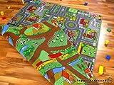 Lernen und Spielen Straßenteppich Beidseitig mit Zwei Straßenlandschaften in 4 Größen...