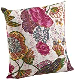 Saunders-Roe Lifestyle 5158.i16s Ketan Collection 5158 Ketan Collection Baumwolle Bedruckt Design mit Kantha Stitches gefüllt, 40,6 cm, quadratisch, Elfenbeinfarben