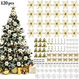 YF-WJ Christbaumschmuck120pcs Artificial Fabric Flower Glitter Wedding Party Decor Christmas Xmas Tree Dreischichtiges Goldpulver,Gold,120pcs