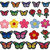 24Pcs Patches zum Aufbügeln Schmetterling Blumen Bügelbilder Bügelflicken Aufbügel...
