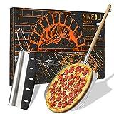 NIVEOLI Pizzaschieber mit Pizzaschneider - 2er Set - Pizzaschaufel und Pizzamesser für...