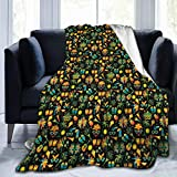 YelloSun Flannel Fleece Throw Blankets,Funky Face Masks Cocktails Costumes Food and Maracas Brazil Life Elements,Soft Fluffy Throws Microfiber Blanket,60 * 50
