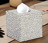 WBFINC Wbfinctaschentücherbox Leder Home Roll Papier Schnitzmuster Tablett Fashion Square Tablett - Gold
