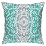 Kissenbezug mit Reißverschluss, Square Cushion Covers Grey and Turquoise Mandala Throw Pillow Covers Cases for Couch Bed Sofa Super Soft Pillow Case for Sofa Couch Office Car Bed 18 X 18 Inches