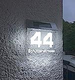 Beleuchtete LED Solar Hausnummer, Hausnummernleuchte individuell personalisierbar