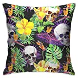 FPDecor Kissenbezug mit Reißverschluss, Throw Pillow Cover Tropical Plants Flower Floral Skull Decorative Pillow Case Decor Square 18x18 Inch Cushion Pillowcase