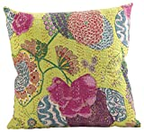Saunders-Roe Lifestyle 5158. lm16s Ketan Collection 5158 Ketan Collection Baumwolle Bedruckt Design mit Kantha Stitches gefüllt, 40,6 cm quadratisch, Lime